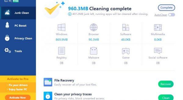 clean master limpieza archivos completado